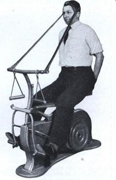 """The """"Mechanical Wondercycle Exercisulator,"""" a hobbyhorse for adults.  It was thought that trotting could work the muscles in the legs, back, stomach, and neck, 1931"""