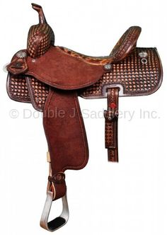 3c4fa1dab85 Double J Pro Barrel Racer with brown vintage leather