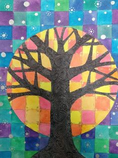 Students learned how to create Contrast using tertiary colors, analogous colors, complementary colors, and warm and cool colors. Students started by practicing their ruler skills and creating a grid. Class Art Projects, Art Therapy Projects, Art Therapy Activities, Tree Of Life Art, Tree Art, Color Art Lessons, Contrast Art, Tertiary Color, 5th Grade Art