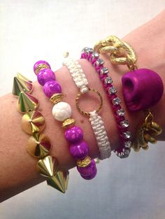 Fuchsia and Gold Spike Bracelet Stack, great colors for spring!