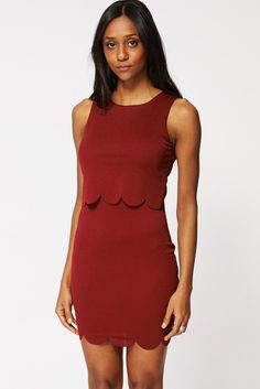 Textured Double Layered Split Top Dress Ex-Branded In Burgundy