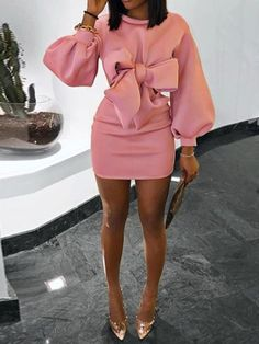 Bowknot Above Knee Long Sleeve Plain High Waist Womens Dress - Moda daily Elegant Dresses For Women, Simple Dresses, Pretty Dresses, Sexy Dresses, Beautiful Dresses, Casual Dresses, Short Dresses, Fashion Dresses, Summer Dresses