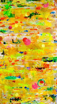 Mixed media collage Golden Dreams by Nora Meyer