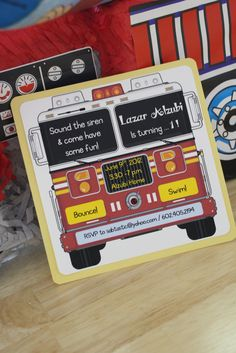 Yellow and Red Fire Engine Birthday Party Invitations by idobliss, $15.00