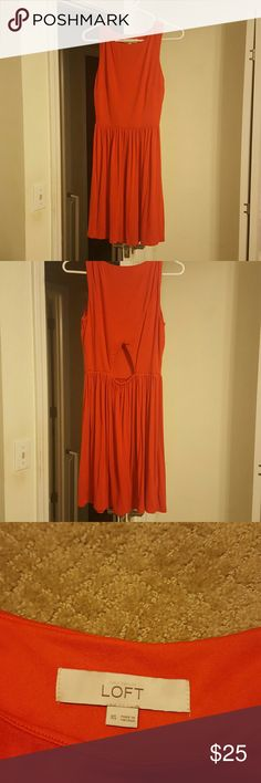 Anne Taylor Loft dress Orange Loft dress. Above knee length.  Very cute and never worn out.  Has been washed. In excella t condition and very cute LOFT Dresses Midi