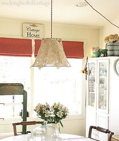 Pretty DIY pendant -- old lampshade covered with lace