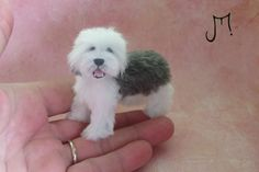 OOAK Handmade Old English Sheepdog  1:12 Dollhouse Miniature Dog IGMA J Parrott