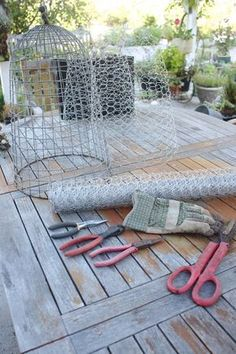Rooted In Thyme: ~Garden Wire Cloches and Simple & Sweet Fridays - Modern Design Potager Garden, Veg Garden, Vegetable Garden Design, Garden Trellis, Edible Garden, Garden Art, Veggie Gardens, Garden Crafts, Garden Projects