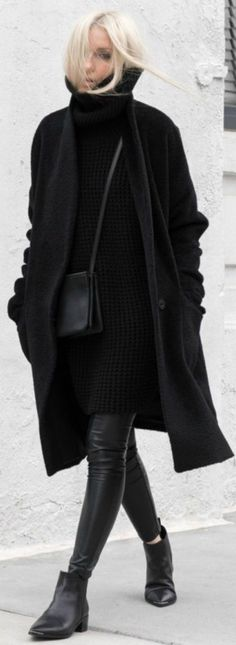 Figtny wears the all black trend in a sleek and sophisticated manner; creating cool, casual vibes with this turtleneck sweater dress and leather leggings combo. Coat: Eileen Fiser, Sweater: Hope Grand, Leggings: Aritzia, Boots: Acne, Bag: Celine