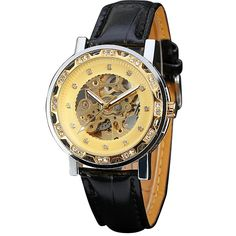 19.49$  Buy now - http://aliy3e.shopchina.info/go.php?t=32763037434 - 2017 Trendy WINNER Ladies Wristwatches Luxury Women Automatic Mechanical Watches Skeleton Crystal Decorated Dial Leather Strap 19.49$ #magazineonline