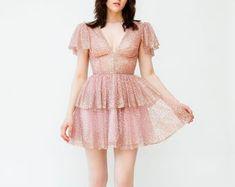 Shop unique styles NYC(Etsy の LirikaMatoshi より) Jenna King, Stunning Dresses, Nice Dresses, Glitter Stars, Tie Front Blouse, Pink Mini Dresses, Heart Dress, Everyday Look, Silk Dress