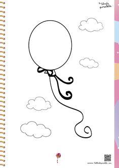 fichas para imprimir y colorear, pintar, globo, juego, volar