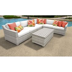 Rosecliff Heights Ansonia 7 Piece Sectional Seating Group with Cushions Cushion Color: