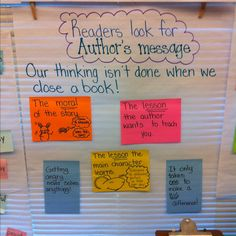 Authors message Readers think after they are finished reading 2nd Grade Reading Comprehension, First Grade Reading, Reading Intervention, Reading Skills, Teaching Reading, Learning Log, Guided Reading, Ela Anchor Charts, Reading Anchor Charts