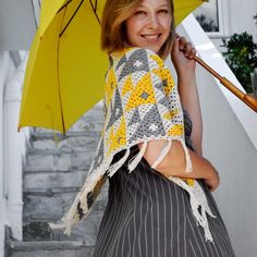 Yellow and gray granny Fish Shawl Crochet pattern, perfect for summer! Find this pattern at LoveCrochet.Com.