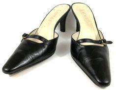 Lauren Ralph Lauren Shoes Womens Size 6 B Black Leather Slip On Mule Pumps Heels #LaurenRalphLauren #PumpsClassics