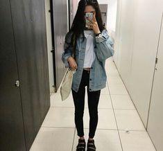 ○✭○white shirt with black neckline, jean jacket, black pants, black shoes ○✭○