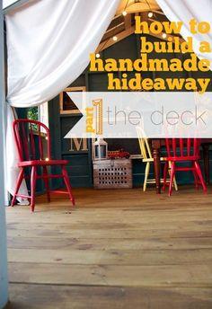 building a handmade hideaway : the diy deck Outside Playhouse, Build A Playhouse, Garden Playhouse, Playhouse Kits, Cool Tree Houses, Outdoor Fun, Outdoor Ideas, Patio Ideas, Backyard Ideas