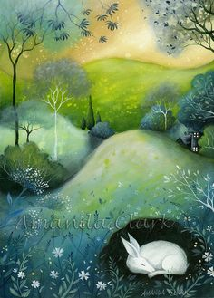 A woodland painting inspired by the English Countryside, Cornwall art, fairytale illustrations by Amanda Clark. Illustrator, Clark Art, Rabbit Art, Bunny Art, Naive Art, Angel Art, Whimsical Art, Woodland Art, Art Plastique