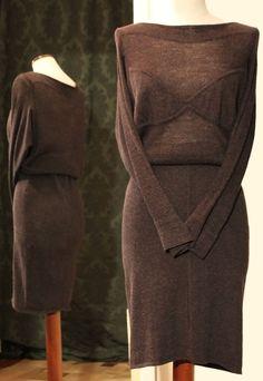 Abito Azzedine Alaïa in lino+lana color cioccolato. Per info: petitnoir-vintage.it