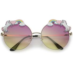 Unicorn Rainbow Semi Rimless Round Sunglasses With Gradient Colored... ($14) ❤ liked on Polyvore featuring accessories, eyewear, sunglasses, sunglass, round metal glasses, round lens sunglasses, metal sunglasses, lens sunglasses and gradient sunglasses