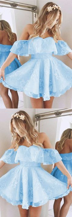 Short A Line Sweetheart Ruffles Shoulder Homecoming Dresses,Cute Lace Prom Dresses,Short Homecoming Dress,71716 by Dress Storm, $113.00 USD
