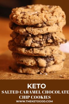 These Keto Salted Caramel Chocolate Chip Cookies are rich, chewy and even better than their sugary, carb loaded counterparts. These Keto Salted Caramel Chocolate Chip Cookies are rich, chewy and even better than their sugary, carb loaded counterparts. Caramel Chocolate Chip Cookies, Salted Caramel Chocolate, Chocolate Caramels, Chocolate Tarts, Salted Caramels, Keto Friendly Desserts, Low Carb Desserts, Healthy Desserts, Keto Snacks
