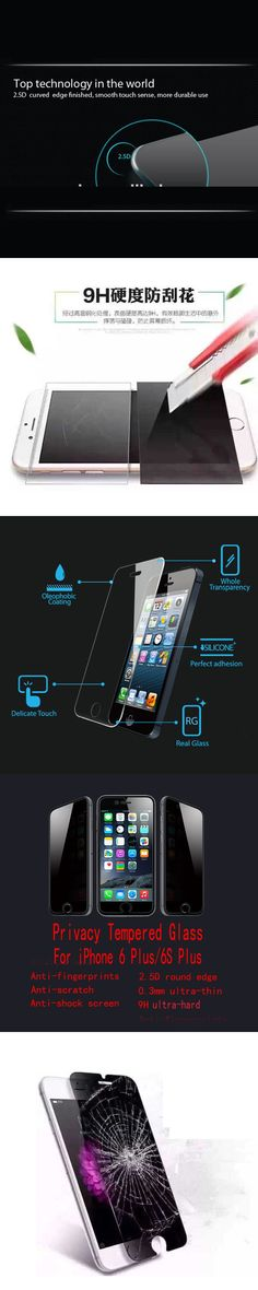 Privacy Tempered Glass Screen Protector For Apple iPhone 6 Plus / 6s Plus Anti spy Tempered Glass Without  Retail Package