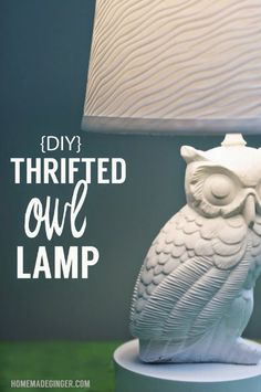 DIY Thrifted Owl Lamp Pinned by www.myowlbarn.com
