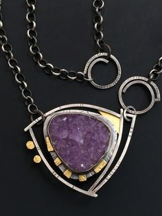 Elaine Raider. Amethyst Necklace. handmade 'split' ring connectors.