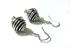 925 Sterling Silver Onyx Spiral Earrings Faceted by MoodTherapy
