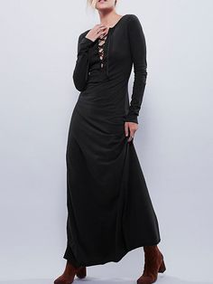 Black Long Sleeve Lacing Lace Up Maxi Dress - Zooomberg