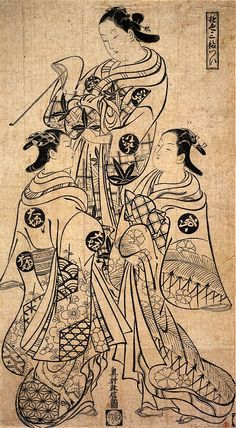 okumura masanobu 奥村政信 18c Beauties of Edo, Kyoto and Osaka 遊色三幅つい