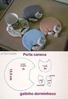 Posavasos de gatitos - Gatito dormido Wonderful DIY Cute Fabric Kitten Coaster With Template | WonderfulDIY.com