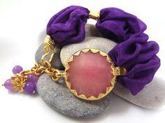 Purple Turkish Silk Bracelet  Pale Pink Jade  / by Lylaaccessories, $35.00