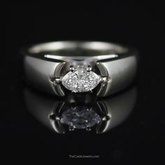 Unique Side Set 1/2ct Marquise Diamond Engagement Ring in 14K White Gold - The Castle Jewelry  - 1