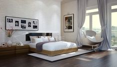 Tuananh-Ekes-modern-white-bedroom-with-heavy-silver-window-treatments-textural-feature-wall-and-wooden-flooring.jpg (1024×584)