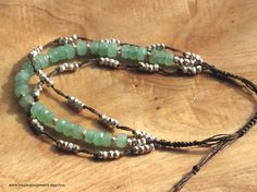 Green Beaded 3 Strand Bracelet Adjustable Size Knotted Brown Silk, Bright Apple Seafoam Greenwith Tiny Silver Nugget Beads, chrysophase