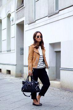 2015 Get the look + Mango Striped Sweater + Mango Pants + Chloe Flats + Balenciaga City Bag #bags