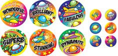 Super praise stickers for the high flyers in your classroom!      Size: 36mm - 240 stickers     Size: 15mm - 120 stickers     12 mixed designs     360 stickers per pack     Ref: TR76  Price     £11.25 FREE UK DELIVERY     (£9.38 ex VAT)