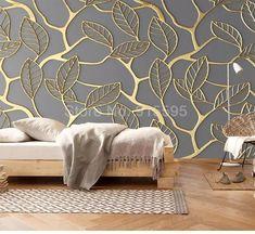 Golden Tree Leaves Wallpaper Mural, Custom Sizes Available