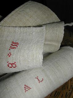 French monogramed 19th century kitchen towels in hemp