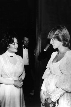 """Elizabeth Taylor talking to Princess Diana (pregnant w/ William)--After a performance of """"The Little Foxes."""""""
