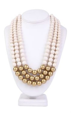 Deb Shops 3 Row Pearl Statement Necklace with Metallic Bottom $8.25