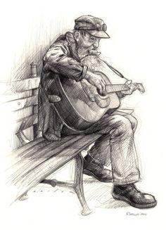 Sketches by jason seiler, via behance nice illustration in 2 Human Figure Sketches, Human Sketch, Figure Sketching, Sketching Tips, Guitar Sketch, Guitar Drawing, Guitar Art, Cool Art Drawings, Pencil Art Drawings