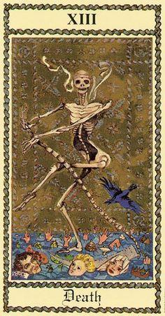 Texto Leo Chioda Imagem Medieval Scapini Tarot US Games 2005 Divination Cards, Tarot Cards, Memento Mori, Xiii Tarot, Tarot Death, La Danse Macabre, Arte Black, Dance Of Death, Tarot Major Arcana