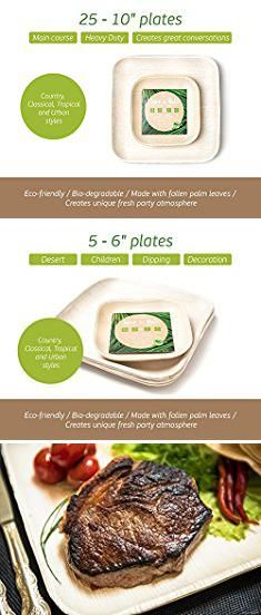 Lovely Bamboo disposable plates pack of 25 fancy party plates strong and eco-friendly wedding and barbecue without washing up & Hefty Plastic Plates. Hefty Heavy Duty Sturdy Durable Re-usable ...