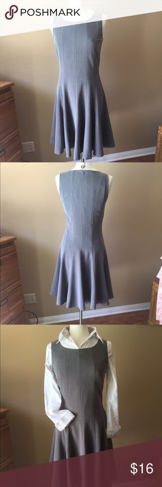 Chadwick's Fit and Flare Dress Versatile gray dress, with seaming to give a great fit and flare skirt; lined; back zipper. Third photo shows an option to wear the dress as a jumper with blouse underneath ( white blouse with gray trim is for sale in $6 section). Shown on size 6/8 mannequin (mannequin measures 37-26-37)👗👚👜Check out the $6 section of my closet (before the sold items). Lots of bundle-worthy $6 items! 15% bundle discount on 2+ items in a bundle.🚫NO TRADES🚫 Chadwicks Dresses