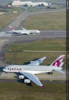 Qatar A350 and A380 together