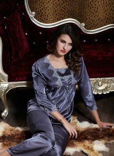7d94e23f5a Silk Blend Gorgeous Women Sleepwear Sleep Long Tops Pants Lace Pajama Sets  Gifts